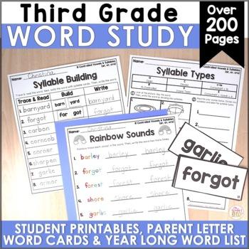 3rd Grade Spelling or Word Work Lists EDITABLE