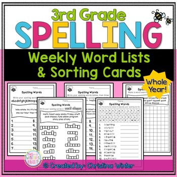 3rd Grade Spelling or Word Work Lists EDITABLE