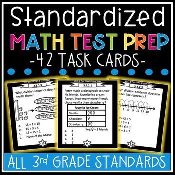 3rd Grade Standardized Math Test Prep Task Cards (MCA - Mi