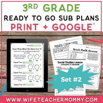 Sub Plans 3rd Grade Ready To Go for Substitute. DAY #2. No