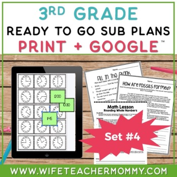3rd Grade Sub Plans Ready To Go for Substitute. DAY #4. No