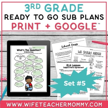 3rd Grade Sub Plans Ready To Go for Substitute. DAY #5. No