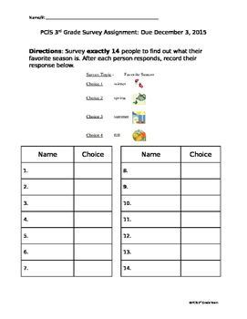 3rd Grade Survey and Graphing Assignment