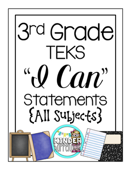 """3rd Grade TEKS """"I Can"""" Posters Black/White- All Core Subjects"""