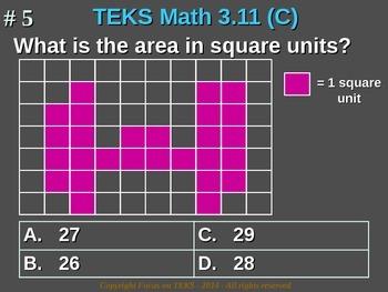 3rd Grade TEKS Math 3.11(C) Use models of square units to