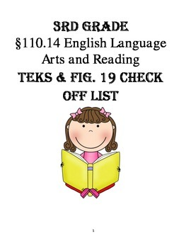 3rd Grade TEKS (Texas Standards) Check-Off list with Fig. 19