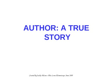 "3rd Grade Treasures ""Author: A True Story"" Introductory Po"