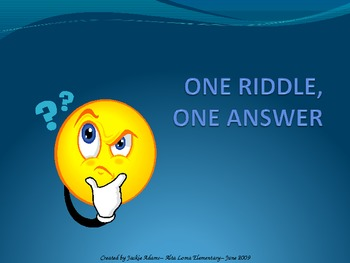 "3rd Grade Treasures ""One Riddle One Answer"" Introductory P"