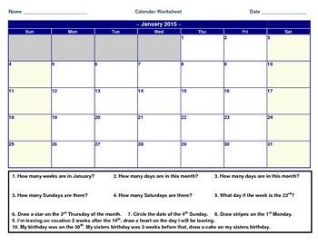 3rd Grade VA SOL TEI Calendar Worksheet
