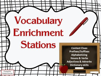 3rd Grade Vocabulary Enrichment Stations - Context Clues & more!