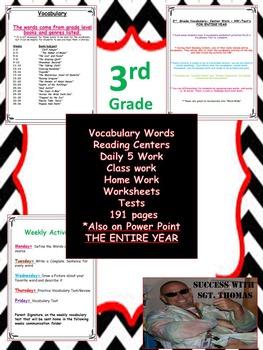 3rd  Grade Vocabulary, Power Point, Center Work , HW, Test
