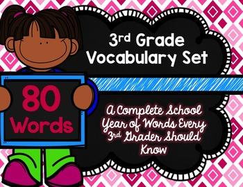 3rd Grade Vocabulary Set (Fluffy Tutu paper)