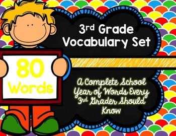 3rd Grade Vocabulary Set (Over the Rainbow paper)