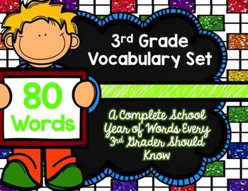 3rd Grade Vocabulary Set (Rainbow Bright paper)