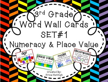 3rd Grade Vocabulary Word Wall Cards Set 1:  Numeracy and