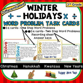 3rd Grade Winter Holidays Task Cards 1-Step & 2-Step Math