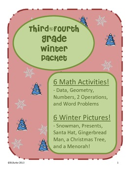 3rd & 4th - Large Winter/Christmas Packet - Math Coloring