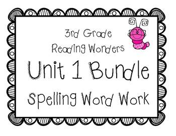 3rd Grade Wonders Spelling Unit 1 Word Work Packet