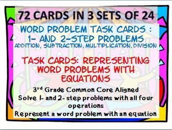 3rd Grade Word Problems Task Card/Scoot Activity: 3 Sets;