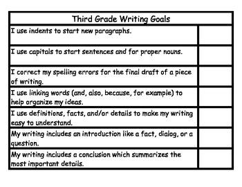3rd Grade Writing Goals Student Checklist