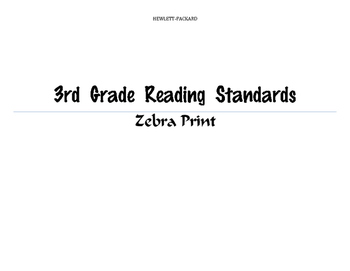 3rd Grade Zebra Print Reading Standards