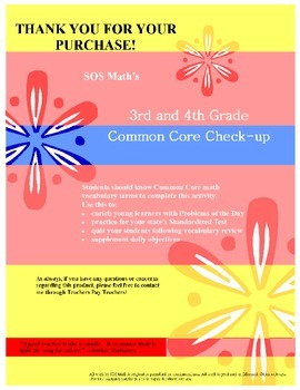 3rd and 4th Grade Common Core Math Check-Up