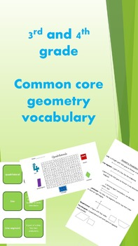3rd and 4th grade common core geometry vocabulary