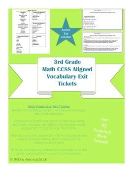 3rd grade Common Core Standard Math Vocabulary Exit Ticket