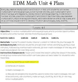 3rd grade Everday Math Units Lesson Plans (see description)