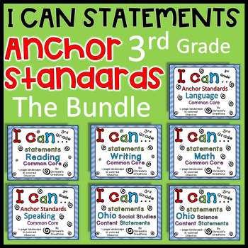 3rd grade I can statements THE BUNDLE Common Core and OHIO