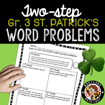 3rd grade St. Patrick's Day Two Step Word Problems - Close