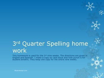 3rd quarter Spelling homework directions in English and Spanish