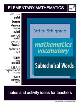 3rd to 5th Grade Mathematics Vocabulary Series: Subtechnic