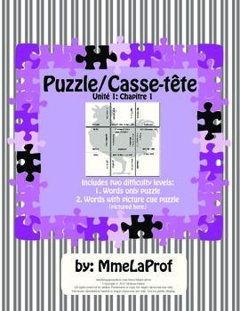3x3 Word Puzzle: Beginner Level French: Unit 1, Chapter 1