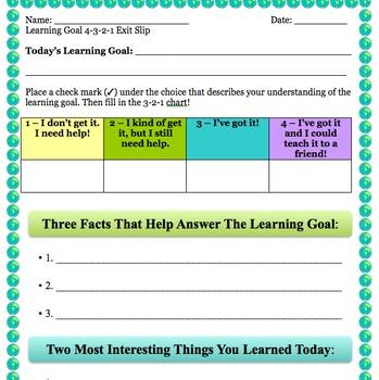 4-3-2-1 Learning Goals Exit Slip