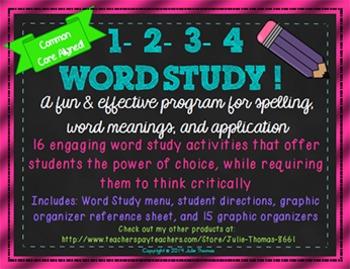 1-2-3-4 Word Study! Menu Matrix Contract-Spelling & Word W