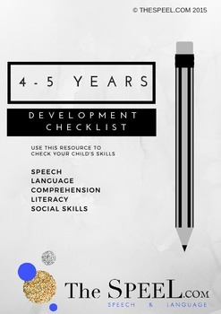 4-5 Years Developmental Expectation Checklist - Speech Pathology