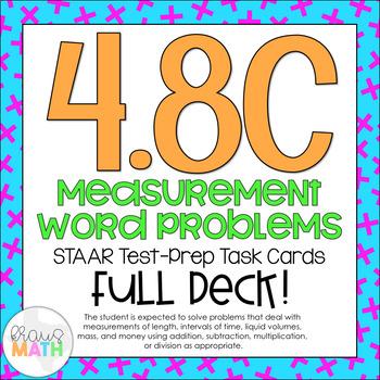 4.8C: Measurement & Conversions STAAR Test-Prep Task Cards