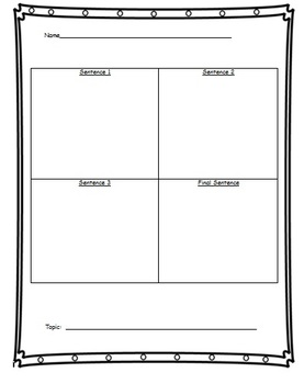 4 Box Sentence Building Worksheet