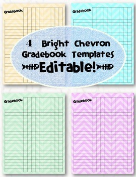Editable Chevron Gradebook Templates -- Pack of 4