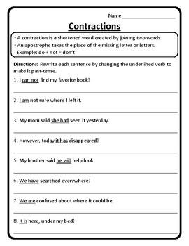 Contractions in Sentences Worksheet Contractions Worksheet