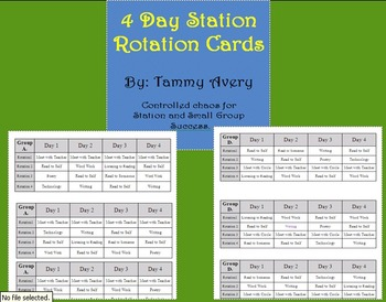 """4 Day """"Controlled Chaos"""" Station Rotation Cards"""