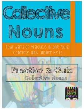 4 Days of Collective Noun Practice with an Assessment Quiz