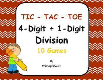 4-Digit by 1-Digit Division Tic-Tac-Toe