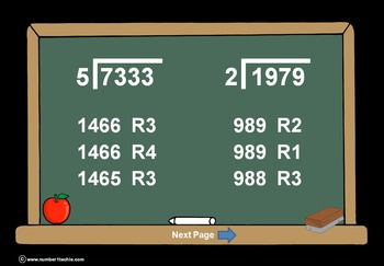 4 Digit Divided By 1 Digit Division PowerPoint Quiz + Matc