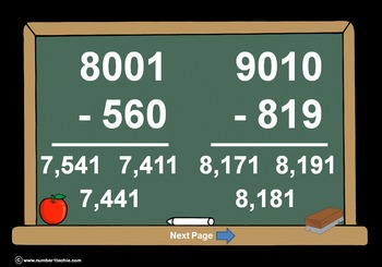 4 Digit Minus 3 Digit Across Zeros-PowerPoint Quiz - Match