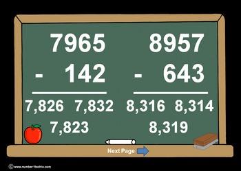 4 Digit Minus 3 Digit NO Regrouping-PowerPoint Quiz - Matc