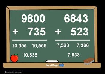 4 Digit Plus 3 Digit Addition PowerPoints+MatchingWkshts &