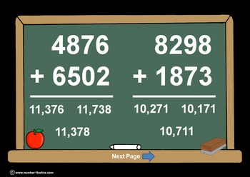 4 Digit Plus 4 Digit WITH Regrouping-PowerPoint Quiz - Mat