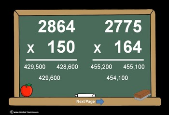 4 Digit Times 3 Digit Multiplication PowerPoint Quiz - Mat